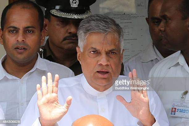 Sri Lankan Prime Minister Ranil Wickremesinghe of the United National Party gestures after casting his vote in the General election on August 17,...