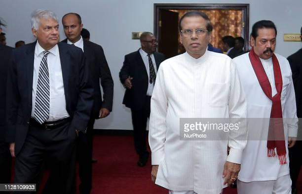 Sri Lankan prime minister Ranil Wickremesinghe president Maithripala Sirisena and opposition leader Mahinda Rajapaksa attend an event felicitating...
