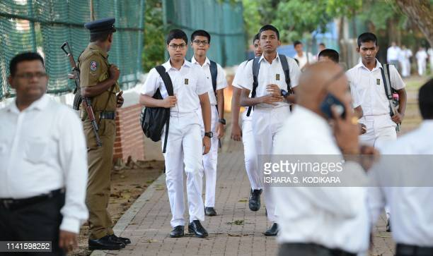 Sri Lankan school students return to classes as schools reopen across the country after the Easter attacks in Colombo on May 6 2019 The head of Sri...
