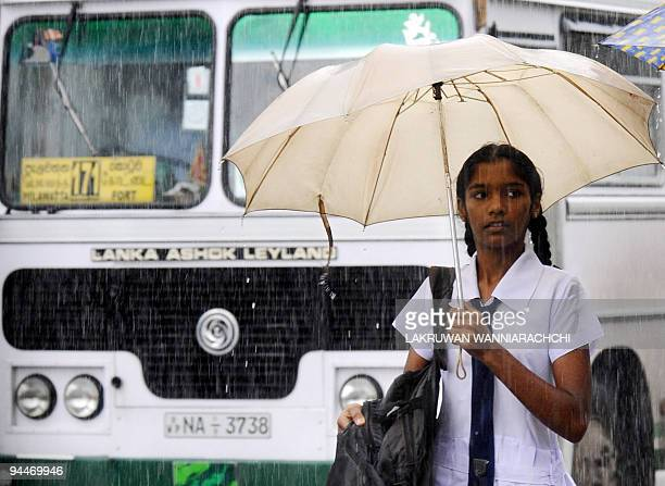 A Sri Lankan schoolgirl holds an umbrella as she walks through a downpour in Colombo on September 5 2008 The rainfall pattern in Sri Lanka is...