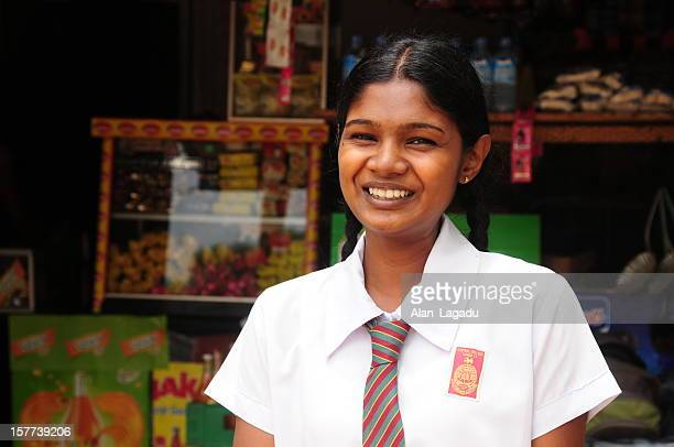 sri lankan schoolgirl,dambulla. - sri lankan school girls stock photos and pictures