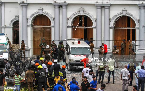 Sri Lankan security forces secure the area around St. Anthony's Shrine after an explosion hit St Anthony's Church in Kochchikade on April 21, 2019 in...