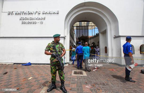 Sri Lankan security forces secure the area around St Anthony's Shrine after an explosion hit St Anthony's Church in Kochchikade on April 21 2019 in...