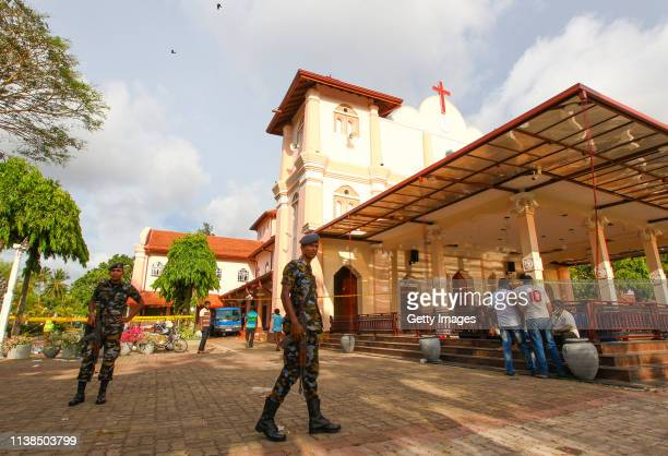 Sri Lankan security standing guard outside St Sebastian's Church in Negombo north of Colombo after multiple explosions targeting churches and hotels...