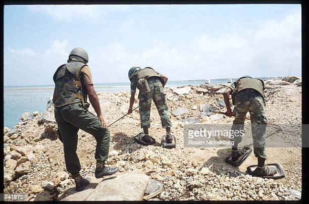 Sri Lankan soldiers search for land mines September 7 1990 near Puttalam Sri Lanka The renewed fighting between the Hindu Tamil Tiger Terrorists and...