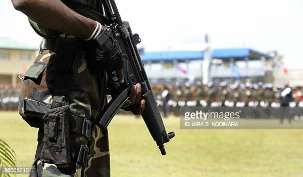 Sri Lankan special forces commandos take part in a military ceremony honouring 10 battlefield commanders who led the final push against the...
