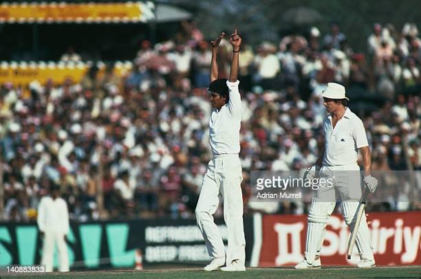 Sri Lankan spin bowler Ajit de Silva celebrates taking a wicket during a match against England in Colombo Sri Lanka February 1982