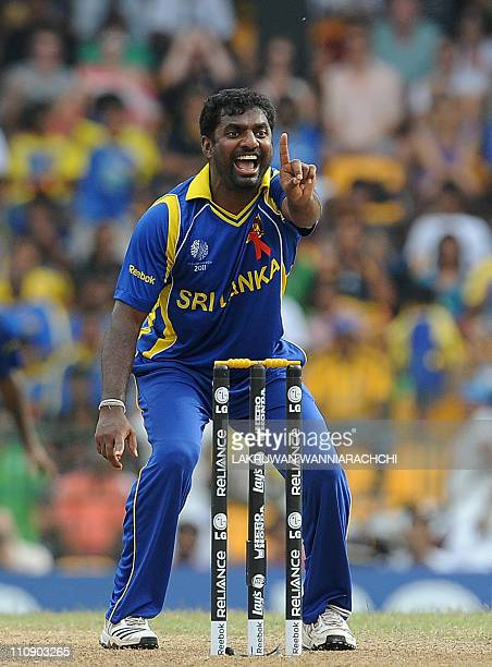 Sri Lankan spinner Muttiah Muralitharan successfully appeals for a Leg Before Wicket decision against England batsman Ravi Bopara the Cricket World...