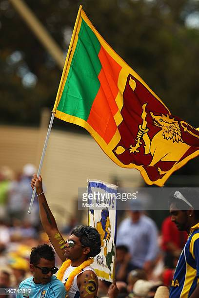 Sri Lankan supporter in the crowd waves a flag during the second One Day International Final series match between Australia and Sri Lanka at Adelaide...
