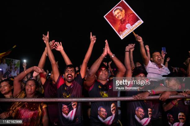 Sri Lankan supporters of Presidential candidate Gotabaya Rajapaksa with the SinhaleseBuddhist nationalist party cheer during the last political rally...