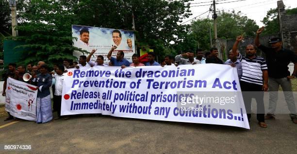 Sri Lankan Tamil activists shout slogans demanding the release of Tamil political prisoners at Jaffna Northern province Sri Lanka on Friday 13 October