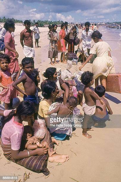 Sri Lankan tamil speaking population after reaching Indian shores waiting to be rehabilitated at refugee camps