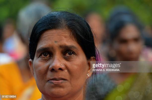 A Sri Lankan Tamil woman gathers to remember her loved ones missing for nearly a decade since the end of the countrys drawn out separatist war in the...