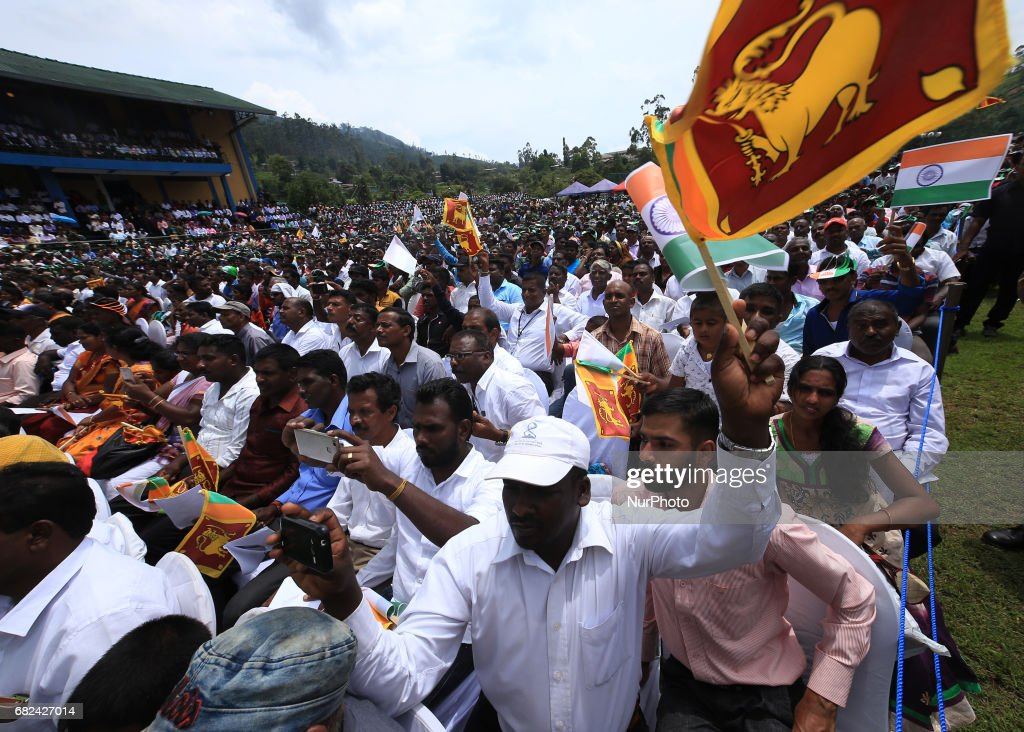 Sri Lankan tea plantation workers of Indian origin attend a rally hosted by Indian PM Narendra Modi in Norwood, about 140 kilometers (87.5 miles) east of Colombo, Sri Lanka, Friday, May 12, 2017