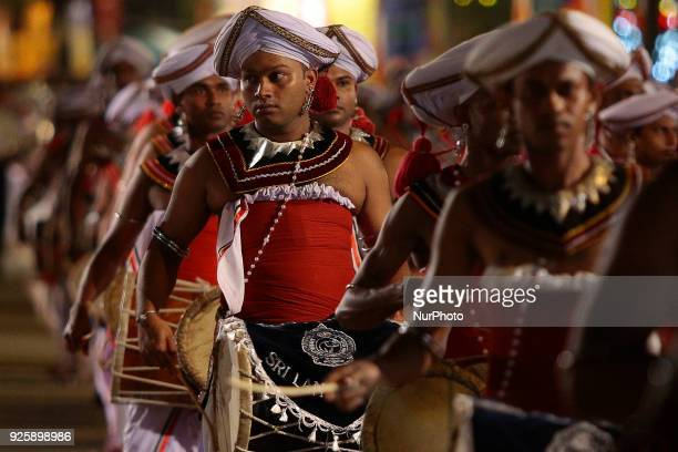 Sri Lankan traditional drummers perform at the Navam perahera the Annual cultural pageant at Gangaramaya temple Colombo Sri Lanka on Wednesday 28...