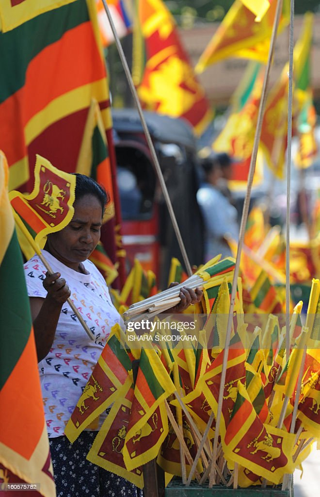 A Sri Lankan vendor sells national flags at a roadside stall in Colombo on February 3, 2013, ahead of Independence Day. Sri Lanka will celebrate its 65th national day on February 4. AFP PHOTO/Ishara S