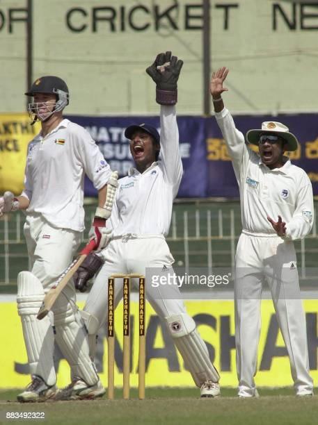 Sri Lankan wicketkeeper Kumar Sangakkara and fielder Mahela Jayawardene unsuccessfully appeal for Leg Before Wicket as Zimbabwe batsman Travis Friend...