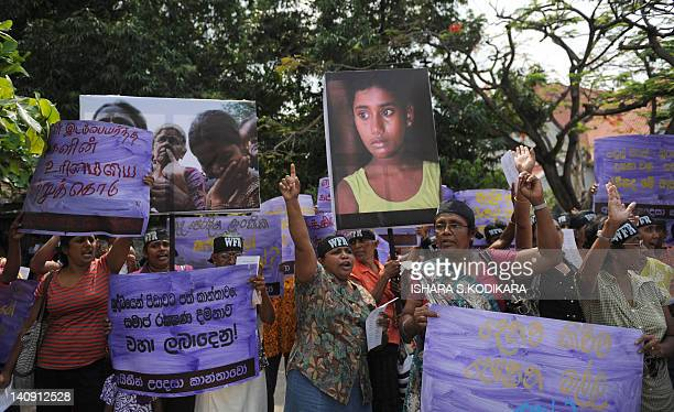 Sri Lankan women demonstrate against rising living costs in the capital Colombo on March 8 on International Women's Day. International Women's Day ,...