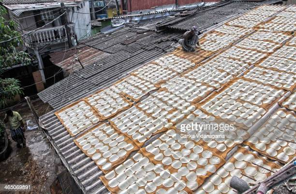 Sri Lankan worker dries Papadum or crisps on a local makeshift factory roof Sekkuwaththa alias Papadum Watta in Colombo on July 05, 2013. The...