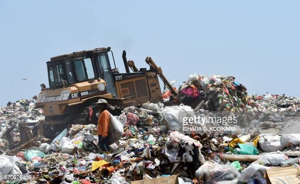Sri Lankan workers sorts garbage at a dump in Karadiyana a suburb of Colombo on April 20 after the city's main landfill closed following a garbage...