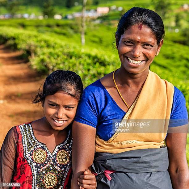 Sri Lankan young girl with her mother, Nuwara Eliya, Ceylon