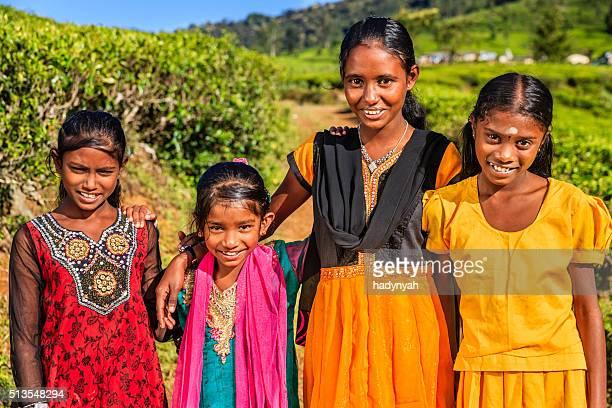 Sri Lankan young girls near Nuwara Eliya, Ceylon