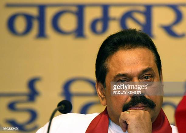 Sri LankapoliticsFonsekaRajapakse by Amal Jayasinghe Photo taken on November 13 2008 shows Sri Lankan President Mahinda Rajapakse gesturing during a...