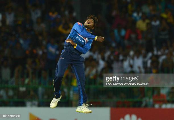Sri Lanka's Akila Dananjaya celebrates after he dismissed South Africa's Aiden Markram during the fifth and final one day international cricket match...