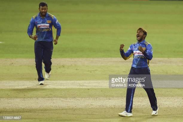 Sri Lanka's Akila Dananjaya celebrates after the dismissal of South Africa's Kyle Verreynne during the first one-day international cricket match...