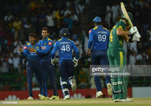 Sri Lanka's Akila Dananjaya celebrates with teammates after he dismissed South Africa's Aiden Markram during the fifth and final one day...