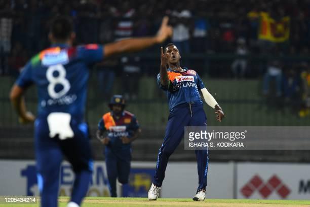 Sri Lanka's Angelo Mathews celebrates after dismissing West Indies' Lendl Simmons during the second Twenty20 international cricket match of a...