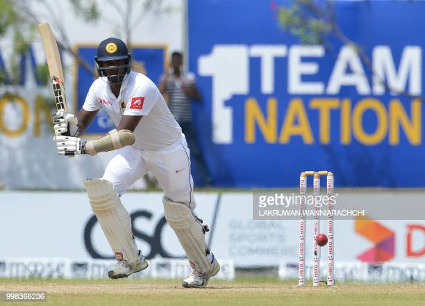 Sri Lanka's Angelo Mathews plays a shot during the third day of the opening Test match between Sri Lanka and South Africa at the Galle International...
