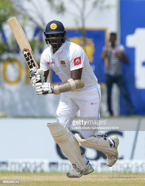 Sri Lanka's Angelo Mathews runs between the wickets during the third day of the opening Test match between Sri Lanka and South Africa at the Galle...