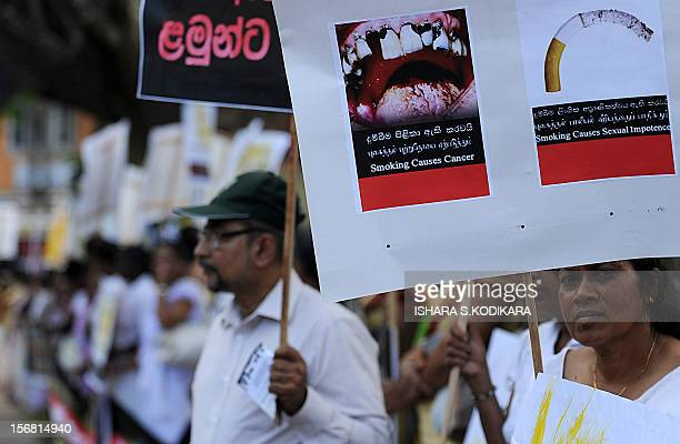 Sri Lanka's antismoking activists demonstrate outside the country's Supreme Court demanding tougher measures to discourage cigarettes in Colombo on...