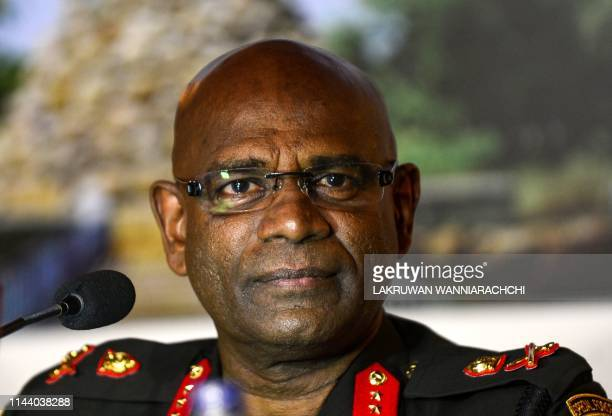 Sri Lanka's Army Chief Mahesh Senanayake looks on as he speaks during a press conference in Colombo on May 16 2019 An international rights group on...