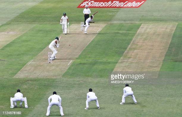 Sri Lanka's bowler Suranga Lakmal throws a ball to South Africa's Aiden Markram during day 1 of the first Test cricket match between South Africa and...
