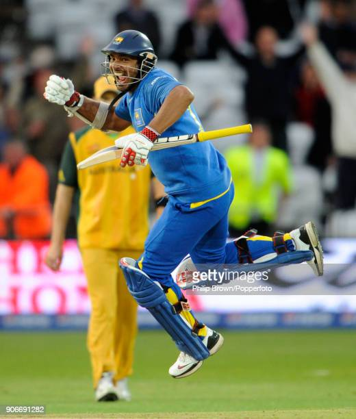 Sri Lanka's captain Kumar Sangakkara celebrates as Sri Lanka win the ICC World Twenty20 group match between Australia and Sri Lanka by 6 wickets at...