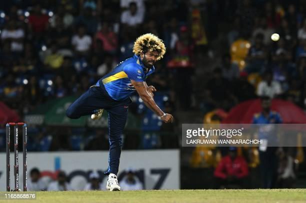 Sri Lanka's captain Lasith Malinga delivers the ball during the second international Twenty20 cricket match between Sri Lanka and New Zealand at the...