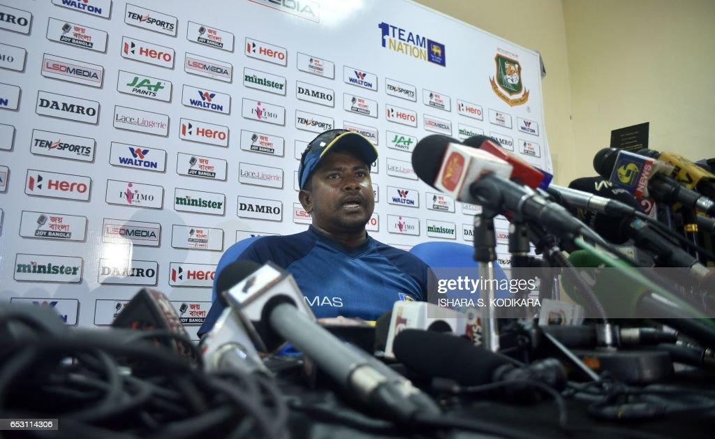 Sri Lanka's captain Rangana Herath speaks during a practice session at The P. Sara Oval Cricket Stadium in Colombo on March 14, 2017. Bangladesh play their 100th Test on March 15, against Sri Lanka at The P. Sara Oval Cricket Stadium in Colombo. / AFP PHOTO / Ishara S. KODIKARA