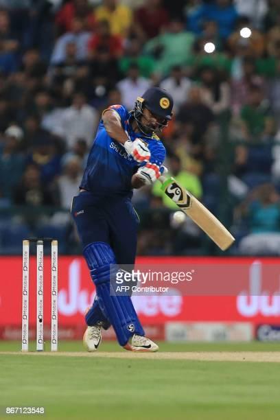 Sri Lanka's Danushka Gunathilaka bats during the second T20 cricket match between Sri Lanka and Pakistan at the Sheikh Zayed Stadium in Abu Dhabi on...