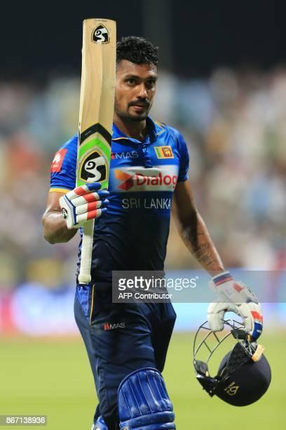Sri Lanka's Danushka Gunathilaka is dismissed during the second T20 cricket match between Sri Lanka and Pakistan at the Sheikh Zayed Stadium in Abu...