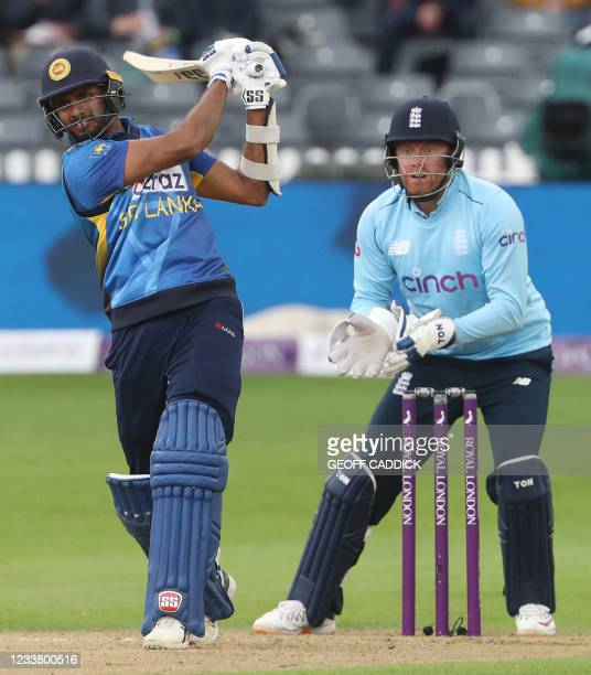 Sri Lanka's Dasun Shanaka bats during the third one-day international between England and Sri Lanka at Bristol County Ground in south-west England on...