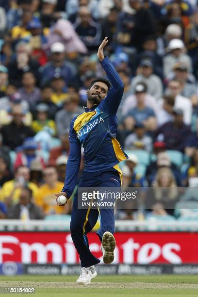 Sri Lanka's Dhananjaya de Silva bowls during the 2019 Cricket World Cup group stage match between Sri Lanka and Australia at The Oval in London on...