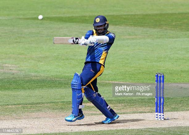 Sri Lanka's Dhananjaya de Silva hits out during the ICC Cricket World Cup Warm up match at the Hampshire Bowl Southampton