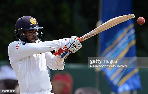 Sri Lanka's Dhananjaya de Silva plays a shot during the final day of the third and final Test cricket match between Sri Lanka and Australia at The...