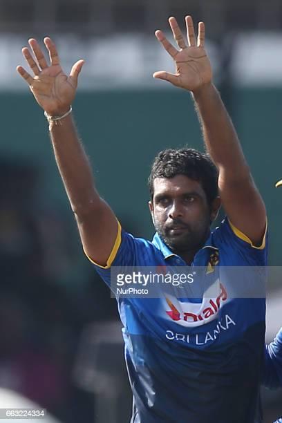 Sri Lanka's Dilruwan Perera celebrates during the third oneday international cricket match between Sri Lanka amp Bangladesh at SSC in Colombo Sri...