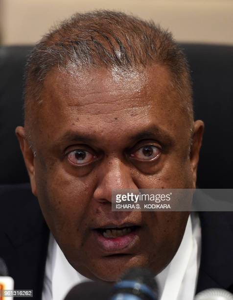 Sri Lankas Finance Minister Mangala Samaraweera addresses a press conference in Colombo on May 22 to warn of the country's increasing foreign debt...