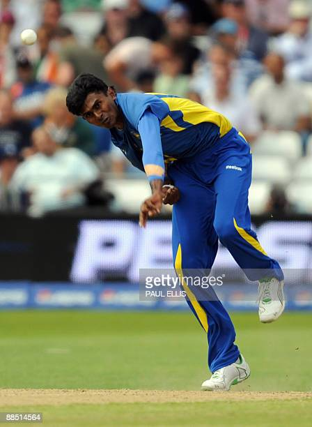 Sri Lanka's Isuru Udana bowls against New Zealand during the Super 8 stage of the ICC World Twenty 20 cricket match at Trent Bridge Nottingham...