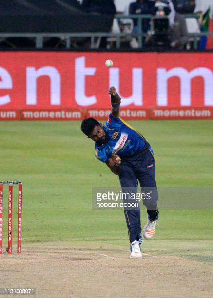 Sri Lanka's Isuru Udana bowls during the 5th One Day International cricket match between Sri Lanka and South Africa at Newlands Stadium in Cape Town...