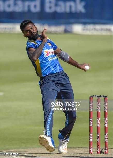 Sri Lanka's Isuru Udana bowls during the third Twenty20 international cricket match between South Africa and Sri Lanka at the Wanderers Stadium in...